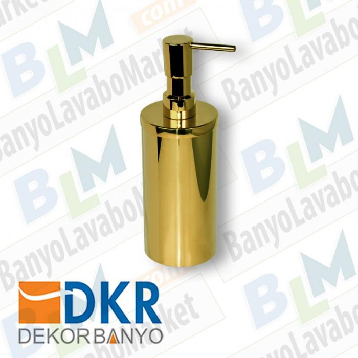 Sıvı Sabunluk Yuvarlak Dekor Golden Kristal - Altın