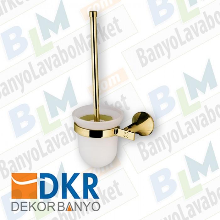 Tuvalet Fırçası Rozetli Dekor Golden Kristal - Altın